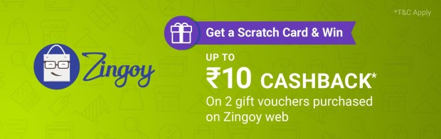 Get Scratch Card Upto 10 on First Two PhonePe Transaction on Zingoy Website