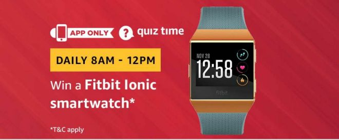 Amazon Quiz Time Daily - Today Amazon Quiz Answers Of Fitbit Lonic Smartwatch