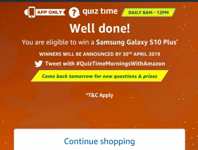 Today Amazon Quiz Answer - Amazon Quiz Time Daily 10th march 2019 Amazon Quiz
