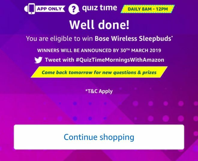 Amazon Quiz Time Daily - Today Amazon Quiz Answers 2nd march 2019 Quiz