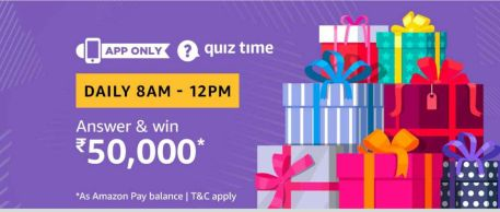 (Answers Added) Amazon Quiz Time Daily - Today Amazon Quiz Answers Of Rs.50,000 Amazon Pay Balance
