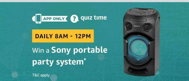 Amazon Quiz Time Daily - Today Amazon Quiz Answers Of Sony Portable Party System