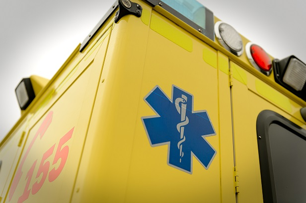 Paramedic symbol and phone number emergency truck