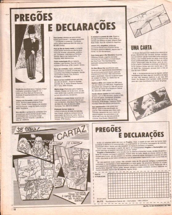A secção Pregões e Declarações do jornal Blitz foi palco de originais mensagens de engate.