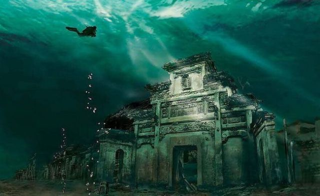 Cidade submersa em Shicheng, China
