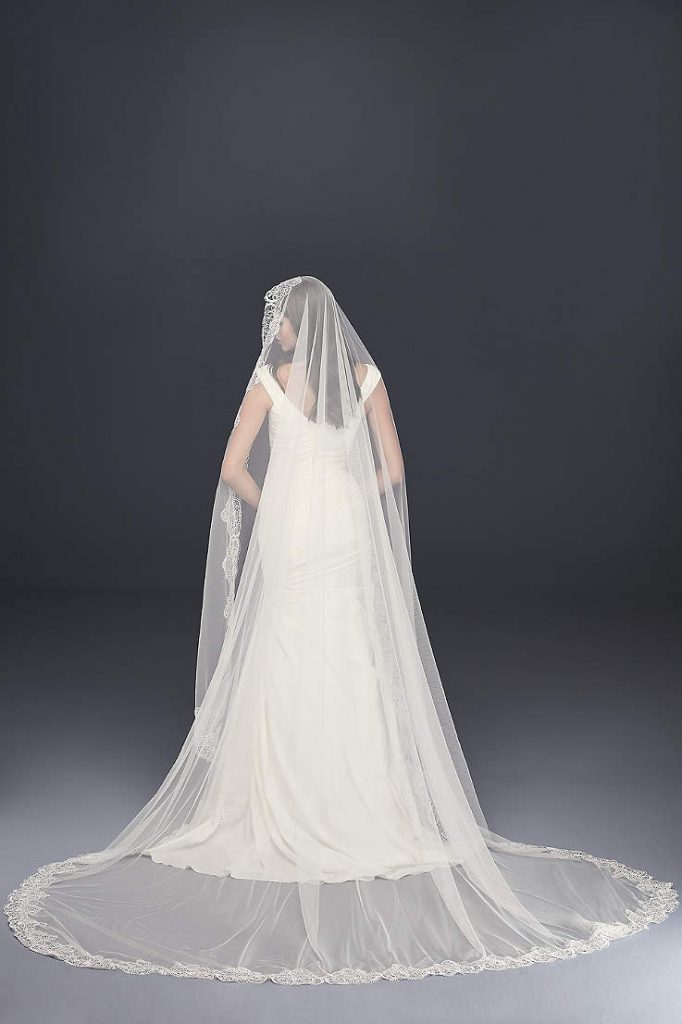 David's bridal floral lace & tulle wedding veil