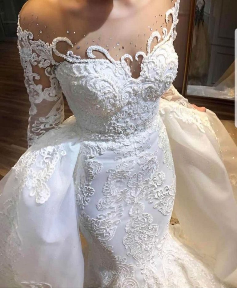 detailed lace dress with overlay brides space
