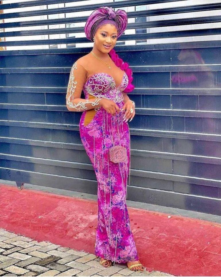asoebi styles corset lace dress