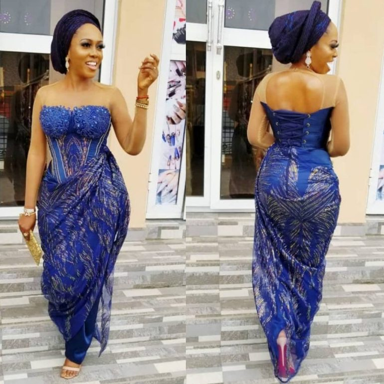 asoebi style draped laced corset dress