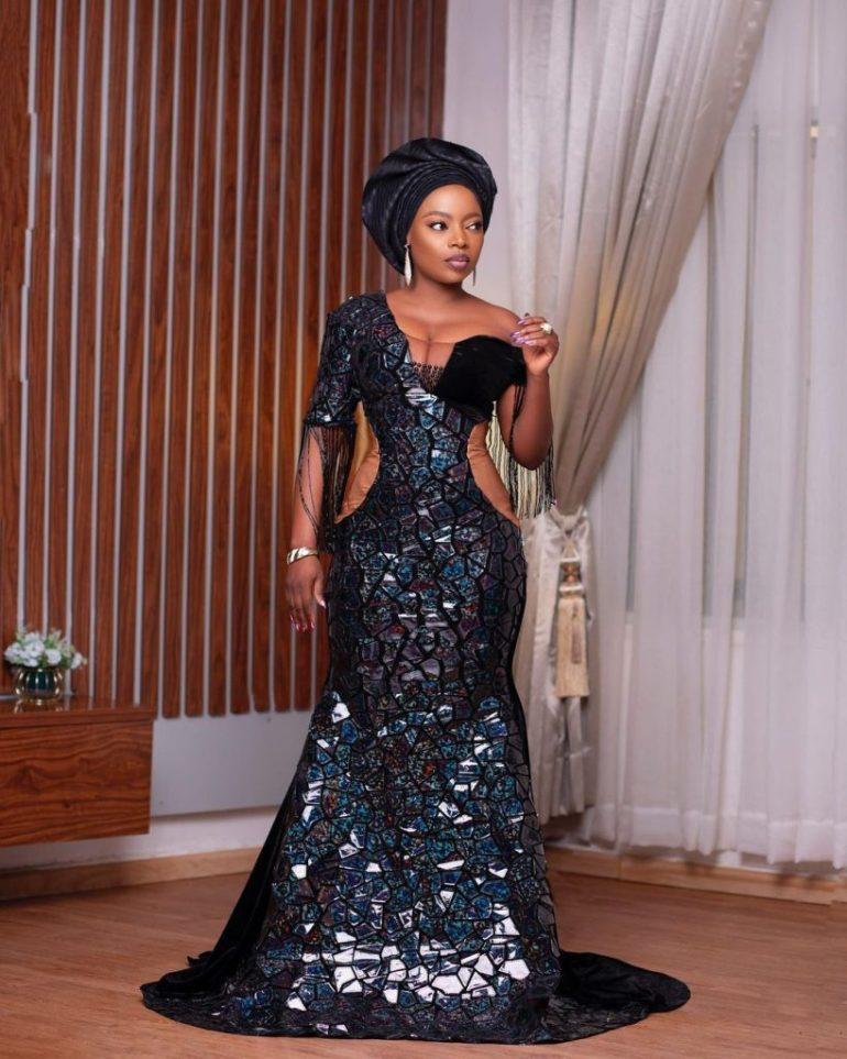 asoebi styles sequinned lace dress