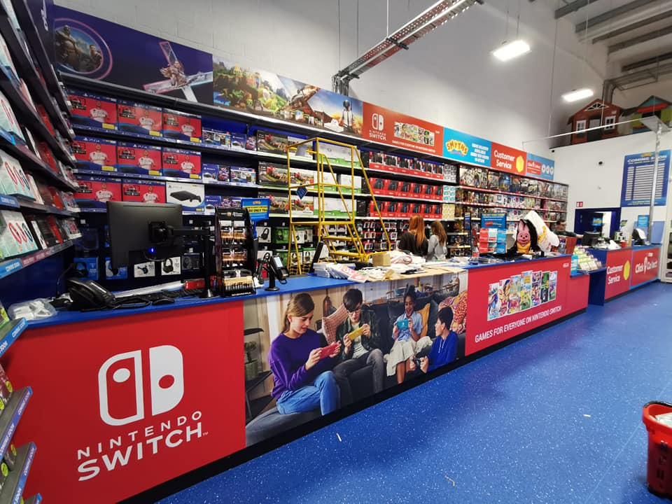 Smyths Toy Stores interior decorative counters and signs.