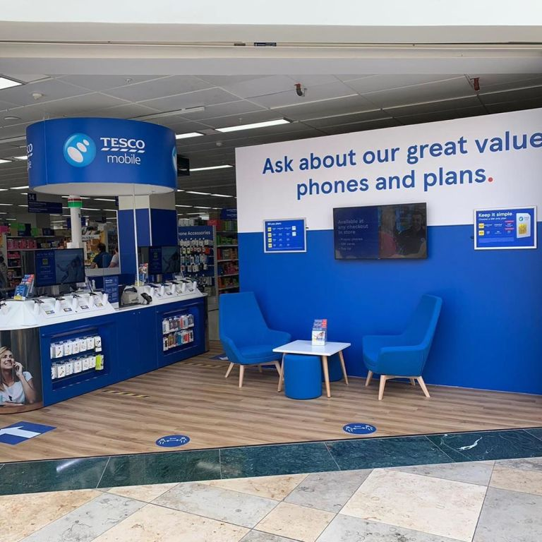 Tesco Mobile Phone Shop Dundrum, Dublin. Interior signs and counter.