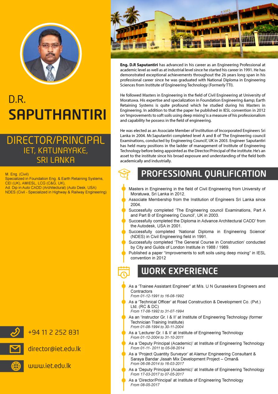 Eng. D.R Saputantiri Director principal IET