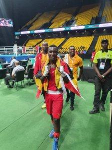 PHOTO COURTESY: Ugandan Men's Middleweight Boxer David Kavuma Ssemujju shortly before the fight against Algerian Younes Nemouchi, Kokugikan Arena, Tokyo