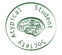 Image of the Atypical Student Society Logo. It is a stylized brain inside a circle with the name of the organization lining the circle.