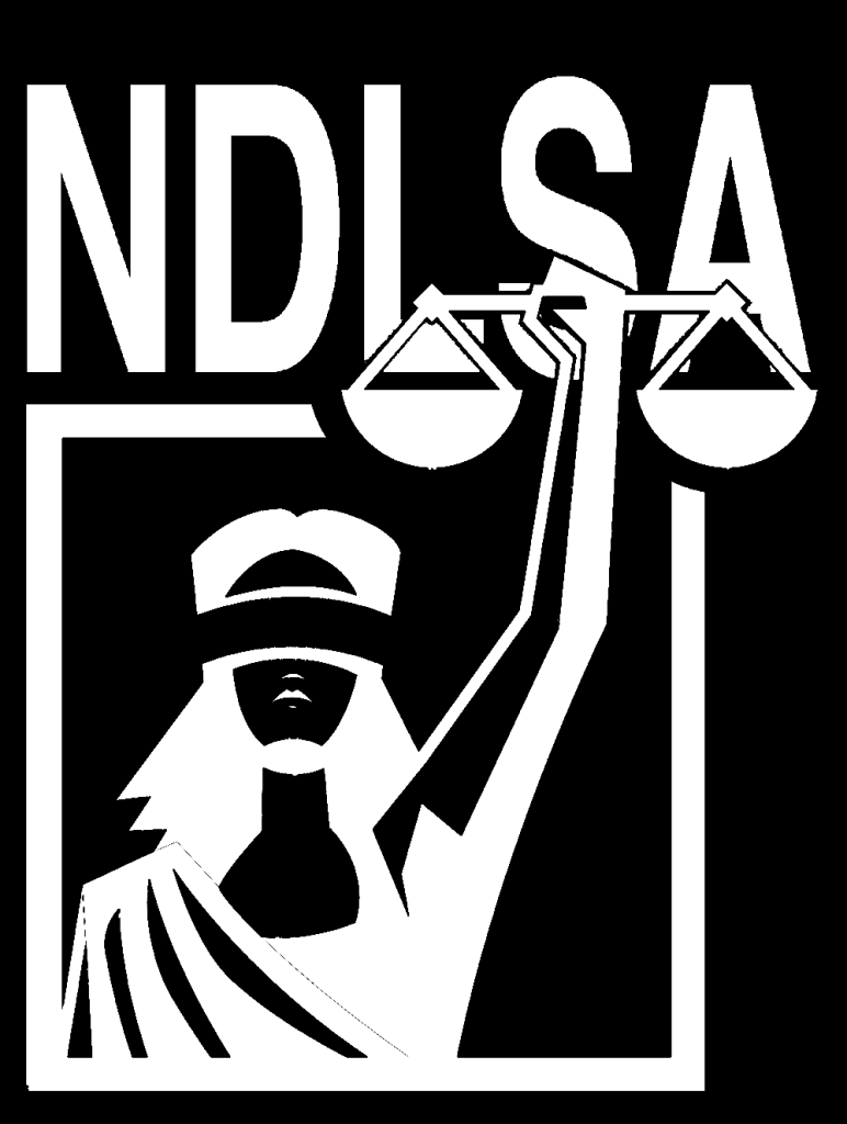 Lady Justice holds the scales of justice under stylized NDLSA lettering.