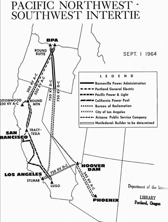 Or-Cal Intertie Map, Hydropower Electricity transmission plan 1962