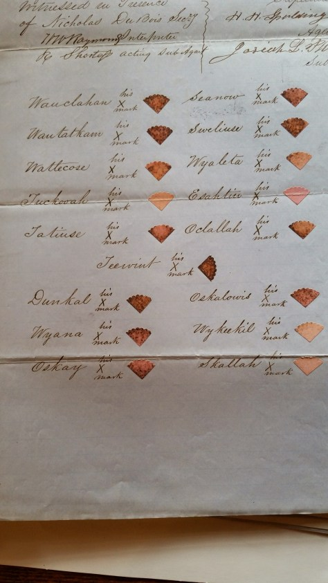 Example of 1851 Treaty signature page for Chinook Tribes, NARA Washington, DC