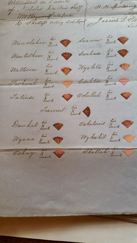 Example of 1851 Treaty signature page for Chinook Tribes, NARA Washington, DC