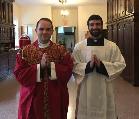 Newly ordained Fr. Aaron Williams and Seminarian Sam Bond are in Chicago this summer to resume their liturgical studies.
