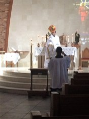 Deacon Brett Lapeyrouse leading Exposition/Benediction in his parish.