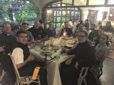 Seminarians from the Diocese of Tyler, Texas, along with their bishop and vocations director, enjoy dinner on their travels in Mexico City. While in Mexico, they also visited to the exact location where the Blessed Virgin appeared to Juan Diego in 1531.