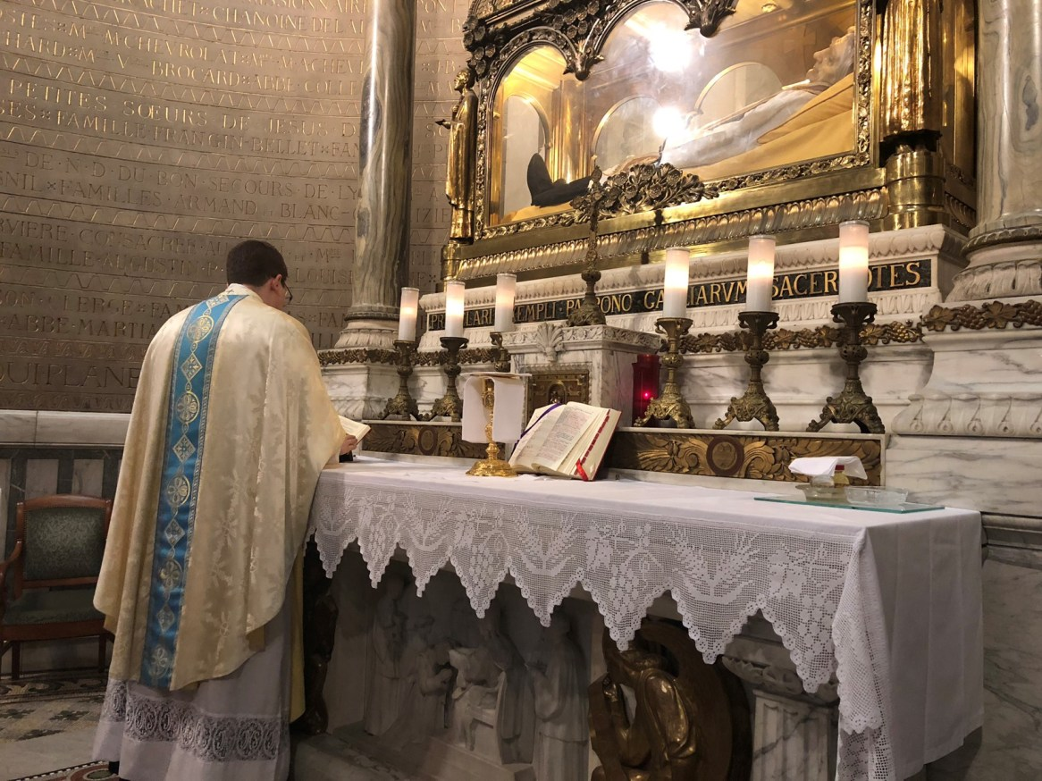Seminarian AJ Motte from the Diocese of Tyler offering prayers for NDS in the historical Church of the Gesu in Rome.
