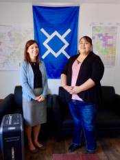 Dr. Miller with Teanna Limpy, first female director of the Tribal Historic Preservation Office, a department entrusted with safeguarding cultural resources located on the Northern Cheyenne Reservation and ancestral lands of the Cheyenne people.