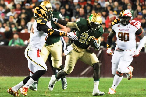 The Irish wore different green Shamrock Series uniforms for a 2011 matchup with Maryland.