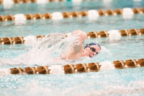 Freshman Elizabeth House competes in the 500YD Free.