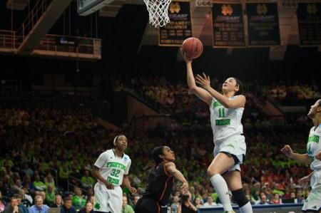 Senior forward Natalie Achonwa leaps for a layup.