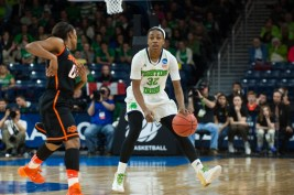 Sophomore guard Jewell Loyd prepares the team's next drive.