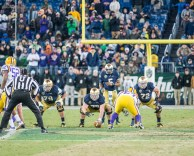 Irish senior quarterback Everett Golson prepares to receive the snap in Notre Dame's 31-28 victory over LSU on Tuesday. Golson was 6-for-11 for 90 yards passing in the game.