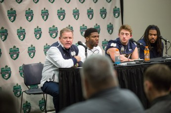 Irish coach Brian Kelly answers questions at the post-game press conference.