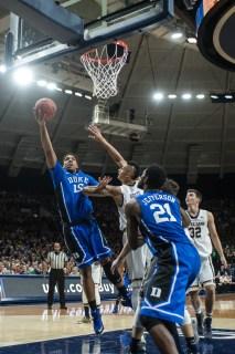 Duke freshman center Jahlil Okafor makes a layup. Michael Yu | The Observer