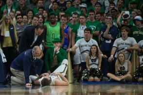 Irish captain Pat Connaughton lies on the floor after falling on his head. Michael Yu | The Observer