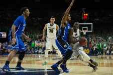 Irish senior guard Jerian Grant takes the ball to the hole during Notre Dame's 77-73 win over Duke on Wednesday at Purcell Pavilion. Michael Yu | The Observer