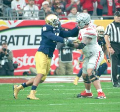 Senior defensive lineman Romeo Okwara battles an offensive lineman during Notre Dame's Fiesta Bowl loss to Ohio State on Friday in Glendale, Arizona.