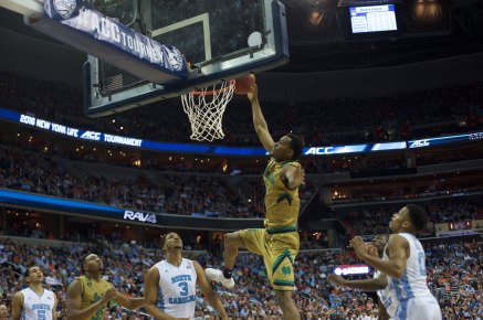 Junior forward V.J. Beachem throws down a dunk during Notre Dame's 78-47 loss to North Carolina in March 11's ACC tournament semifinal.
