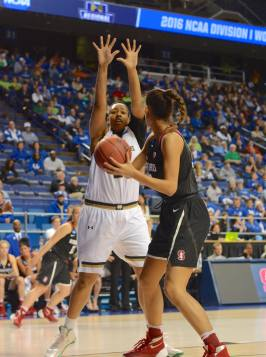 Irish junior forward Kristina Nelson plays defense in the post during Stanford's 90-84 win over the Irish on Friday in the NCAA tournament at Rupp Arena.