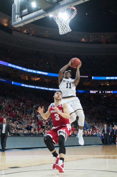 Irish junior guard Demetrius Jackson makes a layup in the final minute of the game in Notre Dame's 61-56 win over Wisconsin on Friday in Philadelphia.
