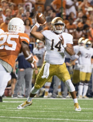 Irish junior DeShone Kizer drops back to pass in Notre Dame's loss to Texas Sunday. Kizer will be the starter for the Nevada game.