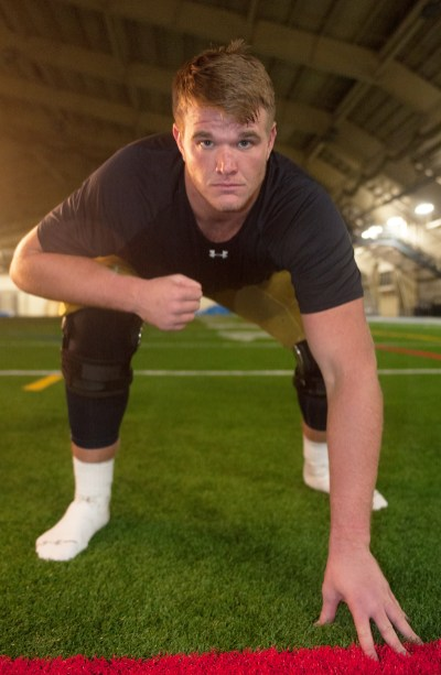 Sr. Mike McGlinchey poses for his Insider shoot on Wednesday.