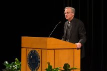 Fr. Jenkins speaks during his annual address to the faculty on Tuesday night in the DeBartolo Performing Arts Center. The address outlined university efforts toward sustainability and diversity.