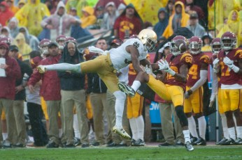 Irish senior cornerback Cole Luke attempts to break up a pass during Notre Dame's 45-27 loss to USC on Saturday at Los Angeles Memorial Coliseum.