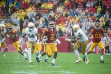 Trojans junior defensive back Adoree' Jackson finds the open field on a punt return during USC's 45-27 win over Notre Dame on Saturday at Los Angeles Memorial Coliseum.