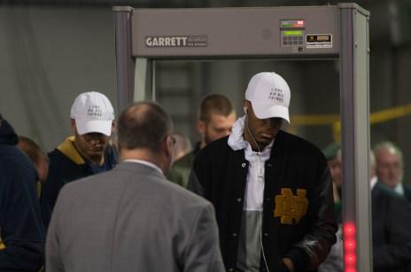 Irish senior forward V.J. Beachem enters KeyBank Center before the team's contest against West Virginia.