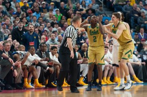Irish freshman guard T.J. Gibbs reacts to an official after receiving a technical foul.