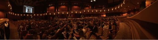 The crowd in the Debartolo Performing Arts Center.