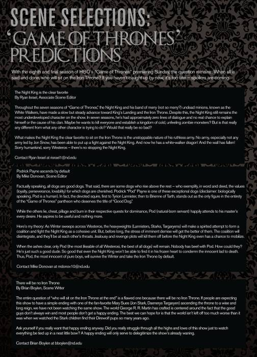 Scene Selections: 'Game of Thrones' predictions // The Observer